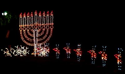A menorah surrounded by tin soldiers