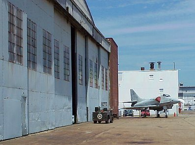 Quonset Point Air Museum hangar and A4